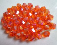 Wholesale Wholesale Glass Art Teardrops - Free shipping 1000pcs 6 mm Orange AB double cone crystal glass beads arts and crafts