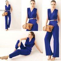 Wholesale Blue V Neck Jumpsuit - High Quality ! Fashion Women Jumpsuit Ladies Casual V Neck Sleeveless Solid Color Elegant Jumpsuit S-L 30