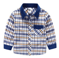 Wholesale Collar Fashion For Kids - High quality 2016 Children clothing middle boy shirts 100-150 classic weave plaid shirt for boy kids clothing boys clothes