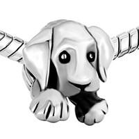 pulseira de esmalte preto venda por atacado-Material de liga com ródio prata cor chapeamento filhote de cachorro cão talão preto esmalte charme fit pulseira pandora