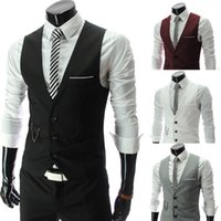 Wholesale Hot Mens Suit Dress - Hot Mens V-Neck Slim Fit Vests Suit Casual Formal Tuxedo Dress Waistcoat Style Wedding Outerwear Free shipping
