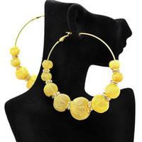 Wholesale Mesh Ball Hoop Earrings - wholesale Basketball Wives Large Mesh Ball Beads Hoop Earrings w  Rhinestone Spacer Beads