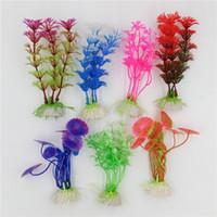 pcs pesca al por mayor-1 unids Plástico Plantas de Acuario Plantas Artificial Maravilla Accesorios de la Planta de Pescado Aquario Ornamento Decoración
