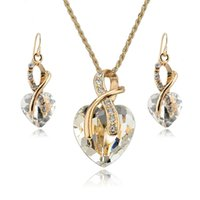 Wholesale New Arrval Necklace Earrings Set Luxury Gold Plated Clear Crystal Heart Jewelry Set For Women Engagement Jewelry Sets SET140044
