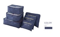 Wholesale Bag Cube - Packing Cubes Travel Organizers Luggage Compression Pouches Travel Accessories Suitcase Clothes Storage Bags Luggage-6 Sets-Navy