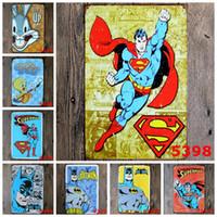 autocollants de héros achat en gros de-Métal Signes Peinture Détective Comics Super Héros Batman Vintage Stickers Muraux Art Décoration Fer Peinture Plaque