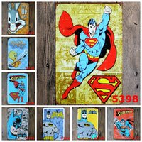 Wholesale People Heroes - Metal Signs Painting Detective Comics Super Hero Batman Vintage Wall Stickers Art Decoration Iron Painting Plaque