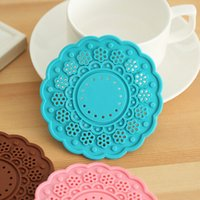 Wholesale Eco Tablewear - silicone cup pad thickened round candy color double sided table decor tablewear mat home daily supplies