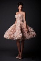 Wholesale Fancy Dress Pictures - 2015 Super Fancy Ball Gown Luxury Feather Prom Dresses Krikor Jabotian Fabulous Short Knee Length Backless Prom Dresses Custom Made Cheap