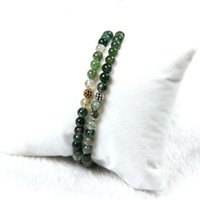 Venda Por Atacado 10pcs / lot New Arrival 4mm Natural Green Onyx Stone Beads Com Micro Paved Black cz Ball Beaded Bracelet For Gift