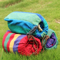 Wholesale Outdoor Rope Hammock - Cotton Stripe Hammock With Tied Rope Thickening Canvas Hammocks For Outdoor Travel Hanging Chair Easy To Carry 11th B R