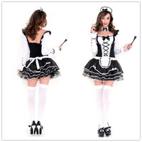 Wholesale Maid Costume Lingerie - Adult Lingerie Sexy Costumes For Women Pretty French Maid Costume Set Long Sleeved Dress Outfit F15245