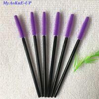 Wholesale Purple Wand - 200pcs Lot Disposable Beauty Eyelash Brush Mascara Applicator Wand Brush Silicone Deep Purple Mini Makeup Brushes