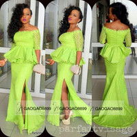 Wholesale Lime Green Dress Long Sleeve - Lime Green Lace Long Sleeve Prom Dresses with Slit Fashion African Off-shoulder Full length Mermaid Dresses Party Evening