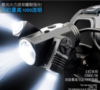 Wholesale Lead File - SS T6 LED 2000Lumens Rechargeable Zoom led Headlights CREE Headlamps+2x18650 Battery 120W 4200mAh Charger 3 files 3 head 180 ° any rotation