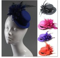 Wholesale Purple Feather Fascinator Clip - Fashion women bride hat cap wedding ribbon gauze lace feather flower Mini top hats fascinator party hair clips caps millinery hair jewelry