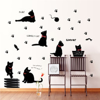 Wholesale Art Wall Sticker Cats - Black Cat with Bow Tie and Paw Wall Art Mural Decor Cartoon Cat Laptop Sticker DIY Home Decoration Decal Posters