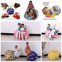 Wholesale Fabric Beanbag - Kids Storage Bean Bags 60cm 18inch Plush Toys Beanbag Chair Bedroom Stuffed Animal Room Mats Portable Clothes Storage Bag OOA3523