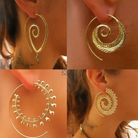 encantos indios al por mayor-Vintage Tribal Indian Spiral Hoop Earrings para mujeres Gold Silver Plated Charming Fake Ear Piercing Jewelry