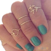 Wholesale Urban Rings - 4PCS Set Rings Urban Gold Plated Crystal Plain Cute Above Knuckle Ring Band Midi Ring EH080