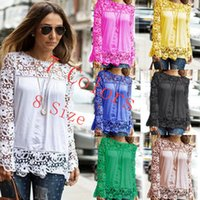 Wholesale Chiffon Blue Loose Blouse - The New Lace Stitching Big Code Loose Sleeved Bottoming Shirt Blouse