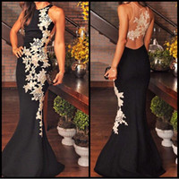 Wholesale Mother Bride Fabrics - Black White 2016 Evening Dresses Formal Sheath Mother Of The Bride Dresses With Lace Applique Sheer Back Floor Length Satin Fabric