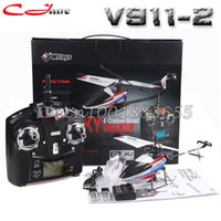 Wholesale Wl V911 Battery Upgrade - Wholesale-Free shipping Upgrade V911-2 2.4G 4CH RC MINI Helicopter Outdoor V911 new version Plug With 2 Batteries for WL Toys Gifts