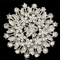 Wholesale large flower corsage brooch resale online - sparkling crystals large flower vintage lady brooch factory direct sale fashion girls pins corsage