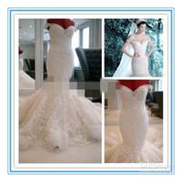 Wholesale heavy wedding dresses - 2015 New Luxury Heavy Beading Pearls Mermaid Wedding Dress Off Shoulder Sexy Bridal Dress Sweep Train