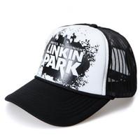 Wholesale Love Park - linkin park Snapback mesh baseball outdoor sport trucker cap men net cap hip hop Visor Sunbonnet Loves hat for women unisex B214