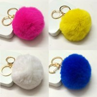 Wholesale Real Fur Accessories - fur keychain Real Rabbit Fur Quality Soft Fur Ball Silver Metal Key Chains Ball Pom Poms Plush Keychain Car Keyring Bag Accessories