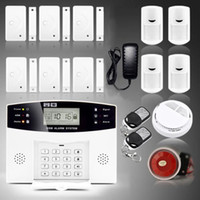 Wholesale Diy Gsm Wireless Alarm System - Safearmed TM SF-9908LCD 2016 New Wireless LCD GSM Intelligent Home Security DIY Burglar House Fire Alarm System with Smoke Alarm USA