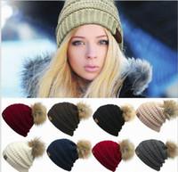 Wholesale Hip Hop Hair - Men Women CC Trendy Hats Autumn Winter Knitted Cap Fur Hair Ball Beanie Luxury Hip Hop Skull Caps Fashion Beanies Outdoor Warm Hats