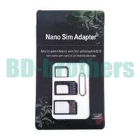 cortador para nano sim al por mayor-Adaptador adaptador de tarjeta Nano Micro SIM 4 en 1 negro con llave de expulsión para iPhone 4G 5 5S 5C Samsung 6G 6plus 1000 sets / lote