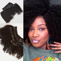 Wholesale Indian Weaving Natural Hair Colour - 8-22inch Clip-ins Hair Wefts,top Grade 3c 4a Virgin Human Hair Brazilian Clip-ins Hair Weaves,Natural Colour No Dye,Can be dyed,G-EASY
