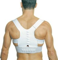 Wholesale Good Posture Back Brace - Good quality OPP package adjustable unisex magnetic posture back shoulder corrector support brace belt DHL Free shipping
