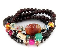 Wholesale Wholesale Arm Candy Bracelets - Wholesale-Free Shipping ! Fashion 4-PC In Set Stretch Glass Beads Arm Candy Bracelet ,FB064