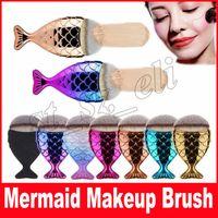 ingrosso oro pesce-New Mermaid Makeup Brush Powder Contour Bilance a base di pesce Mermaidsalon Foundation Brush Gold Rose Gold Argento Blu Nero Spedizione gratuita