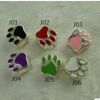 Wholesale Purple Paw - 12Styles Silver Plated Enamel Double-sided Paw Print Big Hole Loose Pandora Beads European Bead Fit Bracelets 10X10mm 10Colors