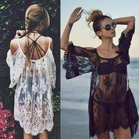 schwarze strandkleidart großhandel-Großhandels-Sommer-Art-Einteiler vertuschen Strand-Kleider Vestido praia Femininos Strand-Abnutzungs-Stickerei-Weiß-Schwarz-reizvolle Kleider