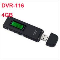 disk gönderimi toptan satış-Ücretsiz kargo USB Disk Dijital Ses Kaydedici DVR-116 4 GB U Disk PEN Ses Kaydedici U Flashd Toplantılar Dersler Için Uzun Çalışma Süresi