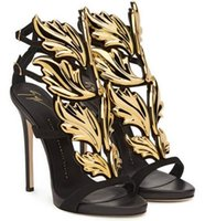 Wholesale stylish women sandals - New Stylish Patent Leather Stiletto Heel Summer Shoes Women Gold Leaves Embellished Sandals Buckle Strap Gladiator Sandals