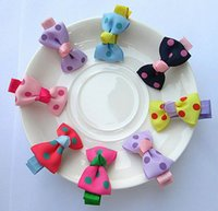 Wholesale Candy Colors Hair - Girl Polka Dot Candy Color Barrette Duckbill Clip Children Hair Accessories 7 Colors 8054