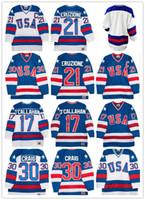 Wholesale Usa Home Jersey - 1980 Retro USA Hockey Jerseys 21 Mike Eruzione 30 Jim Craig 17 Jack O'Callahan B1980 USA Hockey Jersey Blank Throwback Home White Away Blue