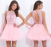 2017 Pink Crew Beads Cocktail Dresses Backless Short A-Line Пром-платье Sheer Tulle Hollow Crystal Без рукавов Homecoming Dress Дешевые