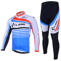 Wholesale Reflective Bike Gear - Cube Cycling Jersey Autumn Winter Fleece Thermal Cycling Clothing Long Sleeves Pants Bike Gear For Men Women