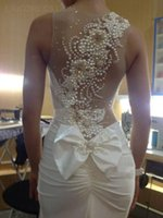 Wholesale Modern Fishing - NWD130 2017 fashionable of bride chiffon luxury pealrs see through mermaid wedding dress fish tail plus size custom made bridal gown dresses