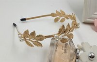 Wholesale Royal Wedding Bands - Baroque Gold metal Leaves Pearl Hair bands royal vintage gold color thin Headband Fashion Bridal Hair Accessories jewelry