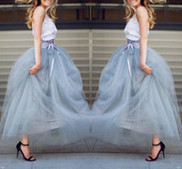 Wholesale Tutu Pink Trim - Ankle Length Tulle Skirts Christmas Wear Floor Length Tutu Skirts With Ribbon Trim Bow Lace-up 2016 Spring Formal Party Skirts Beach Wear