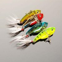 Wholesale Walleye Jigs - 20pcs Blade baits metal fishing lures Fresh Shallow Feathers Walleye Crappie swinger fly fishing hooks fishing lure Tackle VIB